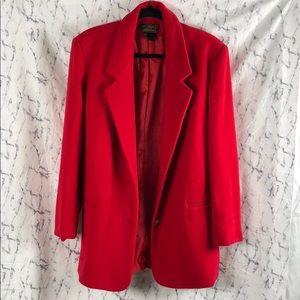 Eddie Bauer 100% Wool Trench Coat Red Jacket